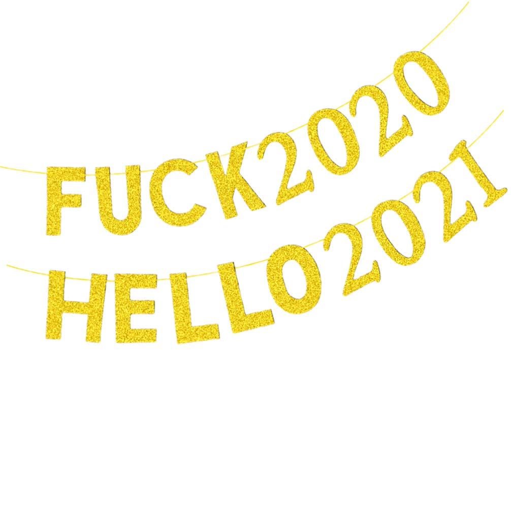 VALICLUD New Year Banner Glitter Fu-ck 2020 Hello 2021 Banner New Years Eve Party Supplies 2021 New Years Christmas Party Fireplace Mantle Hanging Decorations