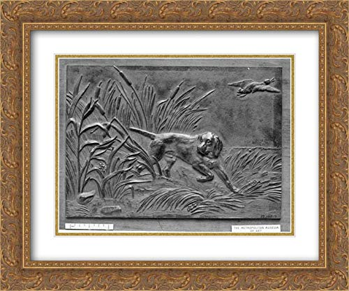 Antoine-Louis Barye - 24x20 Gold Ornate Frame and Double Matted Museum Art Print - Pointer and Ducks ()