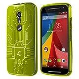 Moto G2 Case, Cruzerlite Bugdroid Circuit TPU Case Compatible with Compatible with Motorola Moto G (2nd Generation) - Green