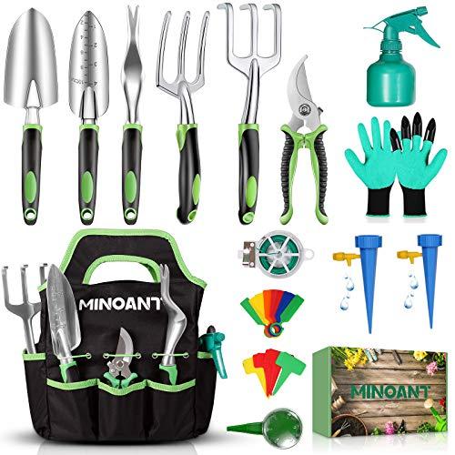 Gardening Tools, Garden Tools Set, Gardening Hand Tools, Gardening Gifts for Women Men, Heavy Duty Gardening Supplies…
