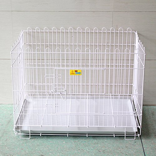 SL&ZX Folding metal dog crate,Pet fence,Fence doghouse large dog cage 4 pieces dog fogging fence tall dog playpen(White)-Single Door 88x62x65cm(35x24x26inch)
