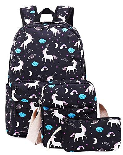 School Backpack for Girls Kids Boys Laptop School Bags Bookbags Set (Black-T02)