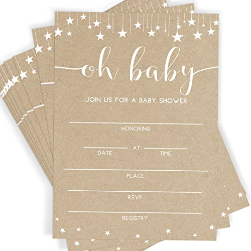 Kraft Baby Shower Invitations | 25 Invitations and Envelopes | Rustic Baby Shower, Sprinkle and Bash Invites -
