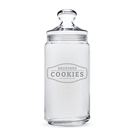 amazon com engraved cookie jar delicious cookies glass