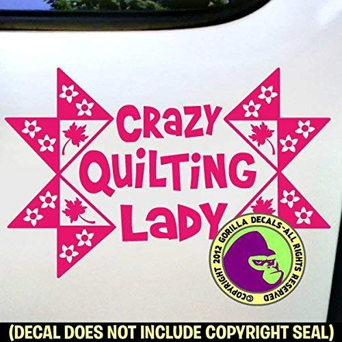 CRAZY QUILTING LADY Quilt Vinyl Decal Sticker C from Gorilla Decals