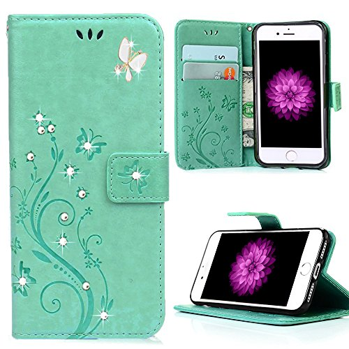 HAOTP Beauty Luxury 3D Fashion Handmade Bling Crystal Rhinestone Butterfly Floral PU Flip Stand Credit Card ID Holders Wallet Leather Case Cover for i…