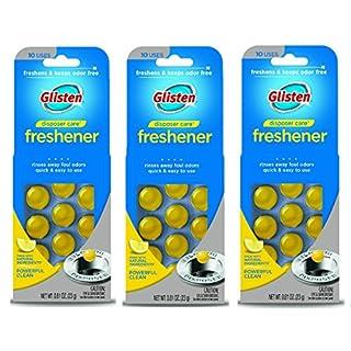 Glisten Disposer Care Garbage Disposal & Drain Freshener Capsules, Lemon Scent, 3 Pack