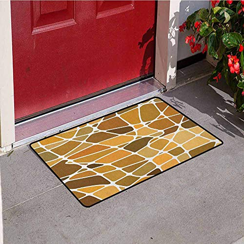 GloriaJohnson Tan and Brown Inlet Outdoor Door mat Stained Glass Style Mosaic with Colorful and Abstract Pieces Fractal Pattern Catch dust Snow and mud W31.5 x L47.2 Inch ()
