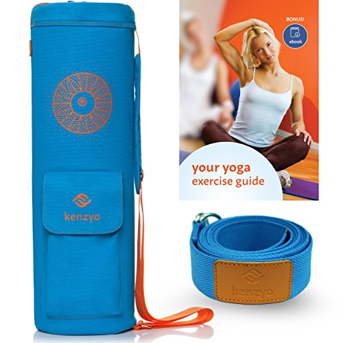Yoga Mat Bag by Kenzyo: Blue Mat Carrier | BONUSES 8ft Yoga Strap and Exercise eBook included | Yoga...