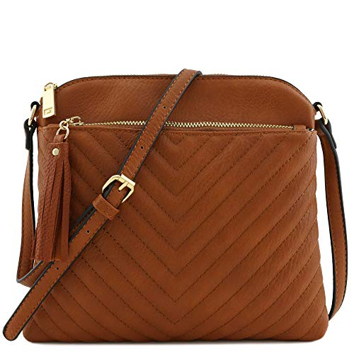 Chevron Quilted Medium Crossbody Bag with Tassel Accent Dark Tan - Quilted Tan Bag