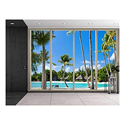 Top Quality Design, Grand Piece of Art, Large Wall Mural Tropical Palm Trees Seen Through Sliding Glass Doors 3D Visual Effect Vinyl Wallpaper Removable Decorating