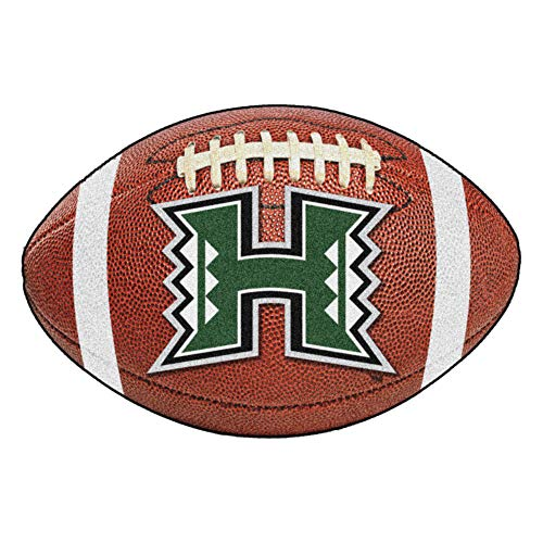 FANMATS NCAA University of Hawaii Rainbow Warriors Nylon Face Football Rug