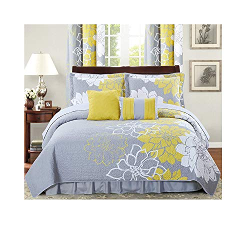All American Collection New 4 Piece Printed Reversible Bedspread Set with Dust Ruffle (Yellow/Grey, Twin Size) (Bedding Curtains Matching)