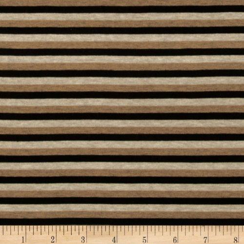 Designer Stretch Rayon Jersey Knit Stripe Black/Tan Fabric By The YD