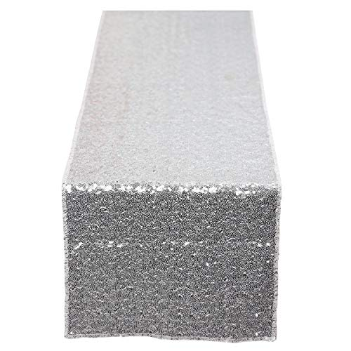 N&Y HOME Silver Sequin Table Runner 12x72 inch, Glitter Sequin Runner for Wedding, Birthday, Party, Baby Shower Decorations, Celebrations and Events]()