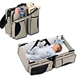 ONXO Baby 3 in 1 Diaper Bags Portable Bassinet + Diaper Bag + Changing Station / Pad Multi-function Large Capacity Nappy Bags Beige