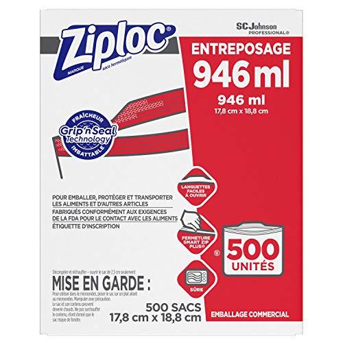 SC Johnson Professional Ziploc Storage Bags, For Food Organization and Storage, Double Zipper, Quart, 500 Count