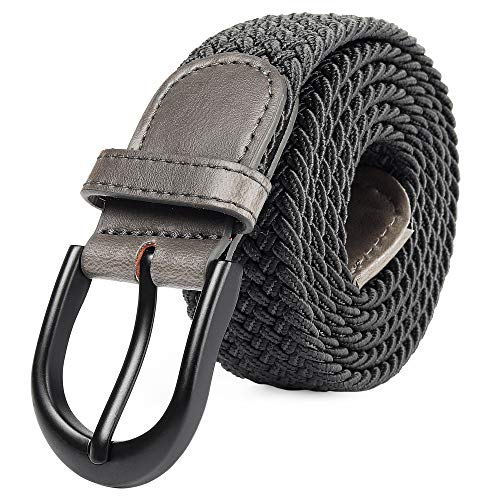 (Braided Stretch Elastic Belt Pin Oval Solid Black Buckle Leather Loop End Tip Men/Women/Junior (Gray, Large 36