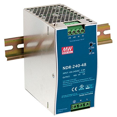 MEAN WELL NDR-240-48 48V 5 Amp 240W Industrial DIN Rail Power Supply PFC