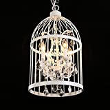 Ruanpu Industrial 14'' Wide 4 Lights Pendant Retro Chandelier Vintage Ceiling light lamp Bird Cage Shaped Bedroom Pendant with Crystal Accent (White)