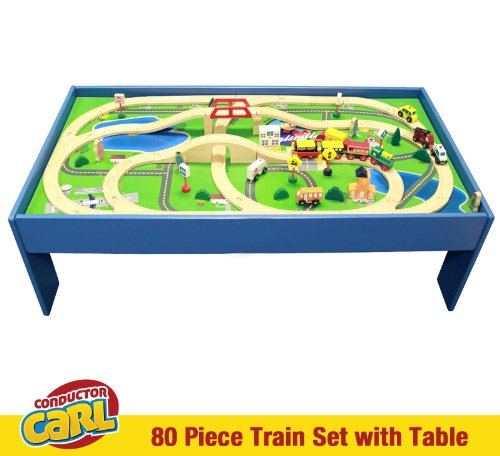 Amazon.com: Conductor Carl Train Table & Play Board Set (80 Piece ...