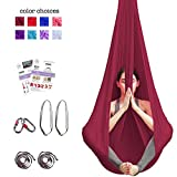 Aum Active Aerial Yoga Hammock - Include Aerial Silk Fabric, Carabiners, Extension Straps, 30-Day Pose Guide - Premium Yoga Swing for Antigravity Exercises, Inversion & Sensory Therapy (Burgundy)