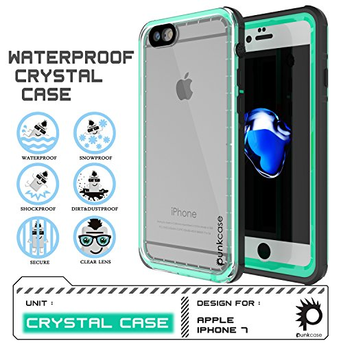 iPhone 8 Case - PUNKCase [CRYSTAL SERIES] Protective Waterproof IP68 Certified Cover W/ Attached Screen Protector - DustPROOF, ShockPROOF, SnowPROOF - Ultra Slim Fit for Apple iPhone 8 [Teal] (Punk Crystal)