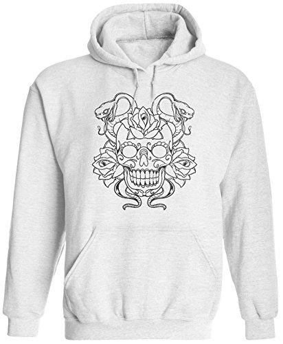 Unisex Mens Snake Sugar Skull Tattoo Pullover Hooded Sweatshirt (White, L) ()