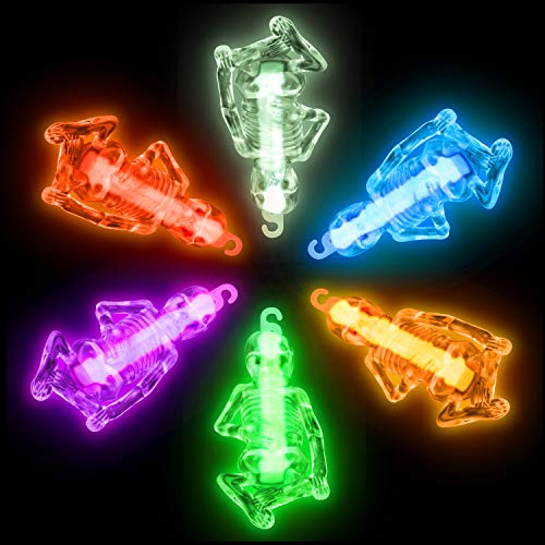 """Halloween Glow Sticks Glow Skeleton Necklaces – 4"""" Glow Skeleton Costume Accessories, Neon Toy Skeleton Party Favors Kids Prizes Jewelry (6pk)"""