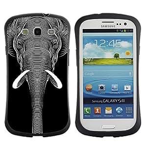 Hybrid Anti-Shock Bumper Case for Samsung Galaxy S3 / Cool Black & White Elephant