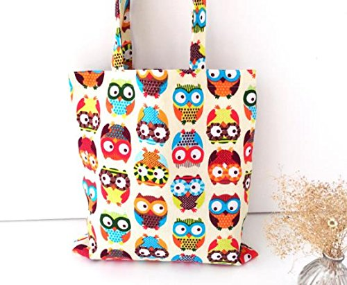 FashionBoutique Heavy Duty Double Layer Cotton Canvas Reusable Shopping Tote Bag or daily use bag with beautiful pattern and Inner Pocket (Owl)]()
