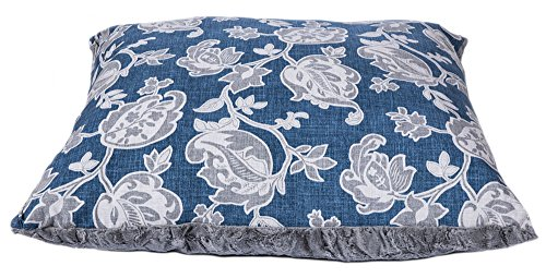Ritzy Rex Designer Dog Bed - Double Sided Plush Fleece Patterned Oversized Pet Bed (Blue and Grey Floral Paisley, Medium) (Beds Medium Paisley Pet)