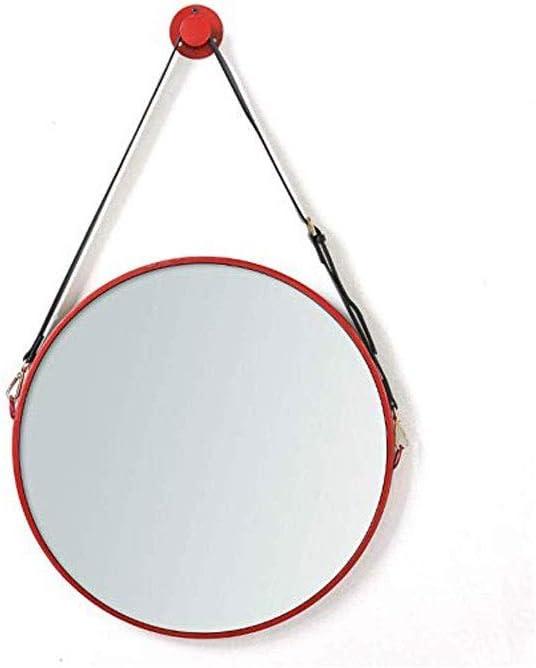 XYZMDJ Retro Pared Redondo Espejo del Metal, montado en la Pared con imitación Colgante Correa de Cuero de Hierro enmarcada tocador de baño Espejos