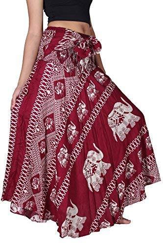 Bangkokpants Women's Long Bohemian Hippie Skirt Elephant US Size 0-12 (Red)