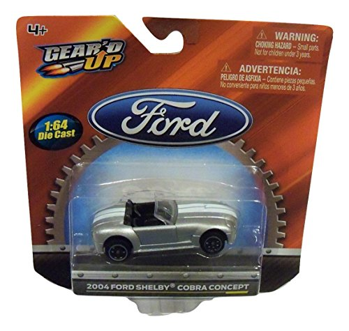 - Ford Gear'd Up Officially Licensed 1:64 Die-cast Vehicle ~ 2004 Shelby Cobra Concept (Silver with Dual White Racing Stripes)