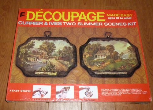 Decoupage Made Easy Currier & Ives Two Summer Scenes Kit Currier & Ives Scene