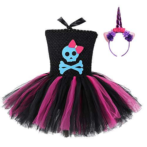 AQTOPS Girls Skeleton Skull Costume Halloween Role Play Scary Dress Up Size 4 Purple]()