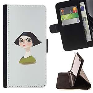 BullDog Case - FOR/Sony Xperia Z2 D6502 / - / ANGRY GIRL BLACK HAIR SHORT PORTRAIT BROWS /- Monedero de cuero de la PU Llevar cubierta de la caja con el ID Credit Card Slots Flip funda de cuer