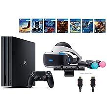 PlayStation VR Start Bundle 10 Items:VR Start Bundle PS4 Pro 1TB,6 VR Game Disc Until Dawn: Rush of Blood,EVE: Valkyrie, Battlezone,Batman: Arkham VR,DriveClub,Battlezone Battle(US Version, Imported)
