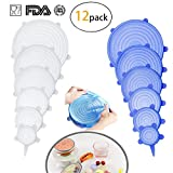 Reusable Insta lids by PatioMatrix(2 colors), 12-Pack of Silicone Stretch Lids with Various Sizes to Fit Different Shape of Containers, Food Storage Cover for Bowl,Cup, Dishwasher and Freezer Safe