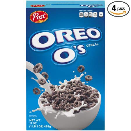 Post Oreo O's Breakfast Cereal, 17 oz - Pack of 4