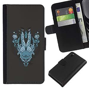 KLONGSHOP // Tirón de la caja Cartera de cuero con ranuras para tarjetas - Resumen de la cara - Sony Xperia Z3 D6603 //