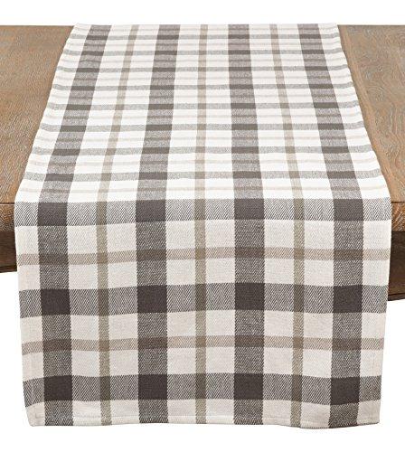 SARO LIFESTYLE Yuri Collection Plaid Design Cotton Table Runner, 16'' x 72'', Grey by SARO LIFESTYLE