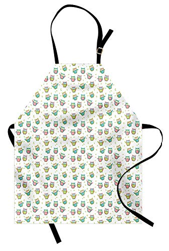 T&H Home Owl Apron, Colorful Cartoon Animal Pattern with Green Foliage Leaves Background, Unisex Kitchen Bib Apron Adjustable for Kids Adults Cooking Baking Gardening, Green Blue and Pale Pink ()