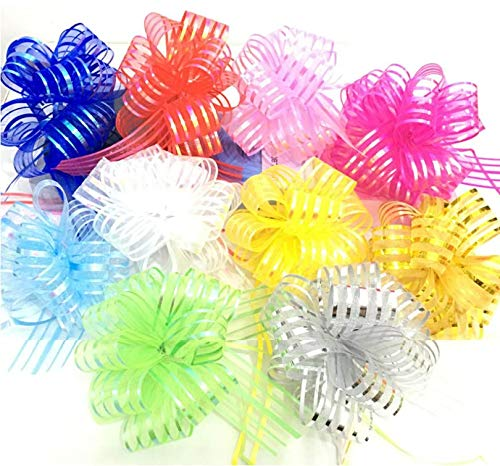 Auch 10Pcs Elegant Beautiful Festival Assorted Colors Crystal Yarn Pull Bows/Christmas Gift/Basket Knot with Ribbon Strings to Wrap The Box or Floral Decoration