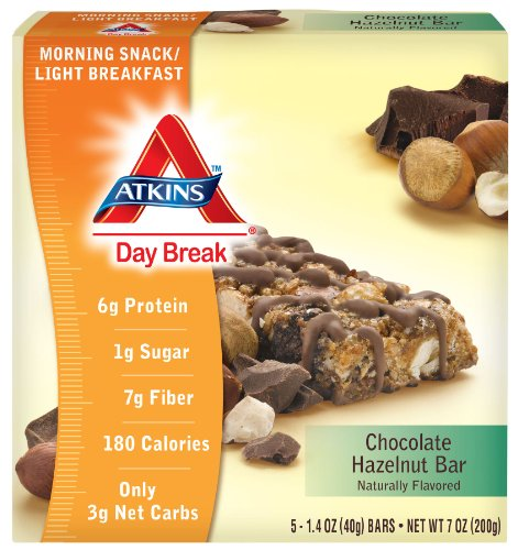 Atkins Day Break, Chocolate Hazelnut Bar, 1.40 oz Bars, 5 count box ( pack of 2)