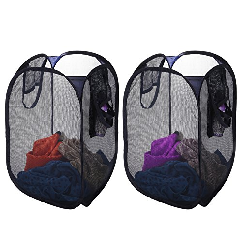 Jusney Pop-Up Foldable Mesh Laundry Hamper Rectangle, with Side Pocket and Handles (2 sets) (Nylon Up Laundry Pop Hamper)