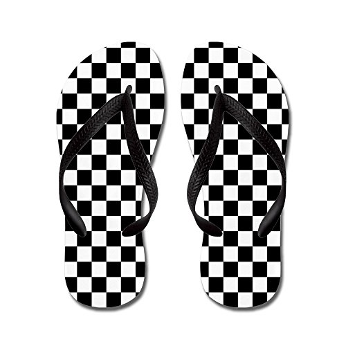 Black And White Checker (CafePress Checks Black White Checkerboard - Flip Flops, Funny Thong Sandals, Beach Sandals)