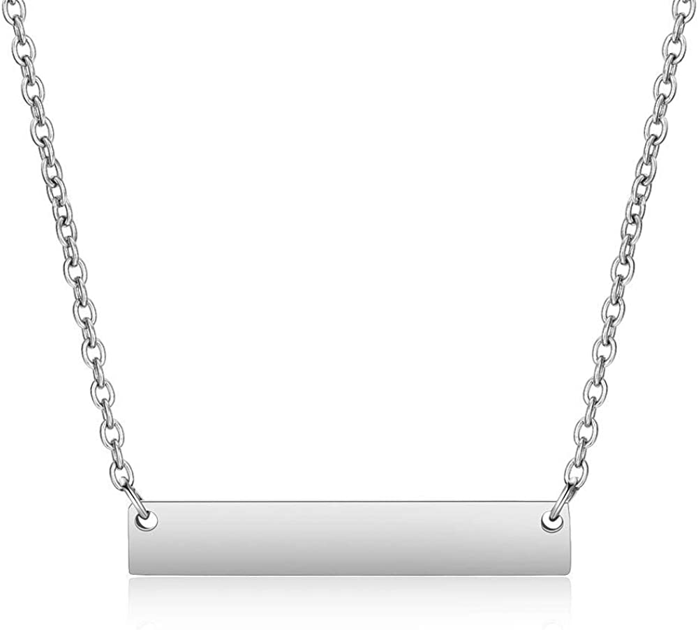 Jude Jewelers Stainless Steel Horizontal Long Bar Drop Classic Plain Charm Necklace