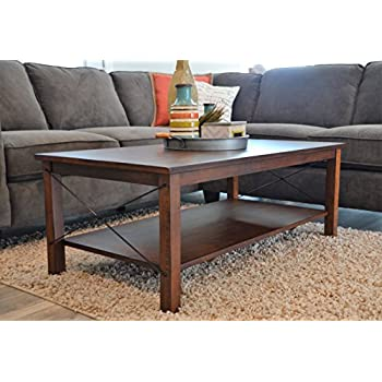 Amazon.com: Windham Solid Birch Wood - Iron Contemporary Coffee Table Rustic - Industrial Style
